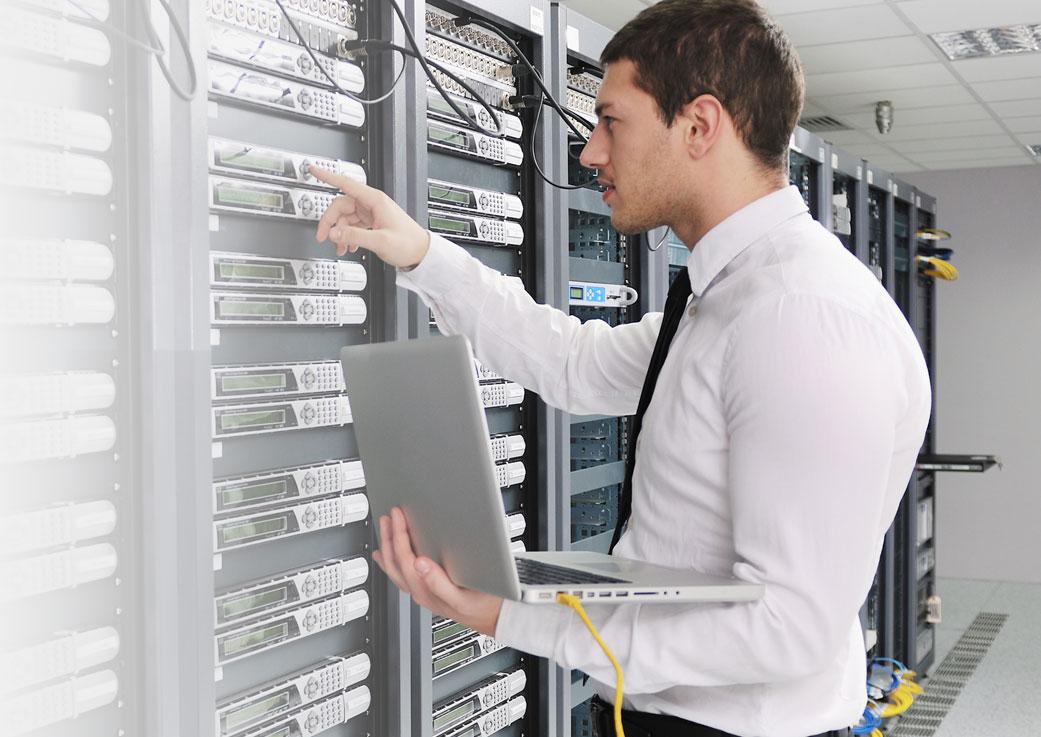Man on the server room